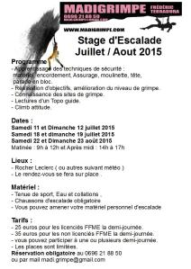 stage escalade juillet aout 2015